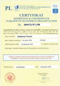 Certyfikat Kompetencji Zawodowych w Krajowym Transporcie Drogowym Osób