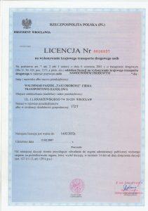 Licencja na wykonywanie krajowego transportu drogowego