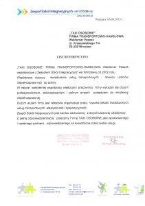 List referencyjny od Zespołu Szkół Integracyjnych we Wrocławiu